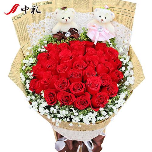 33朵紅玫瑰花束 全国同城送花