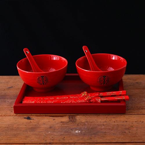 婚庆双喜碗筷套装