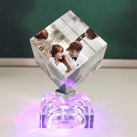 送女友创意水晶魔方 个性定制照片