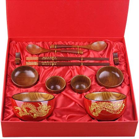 结婚龙凤碗筷套装 高档礼盒