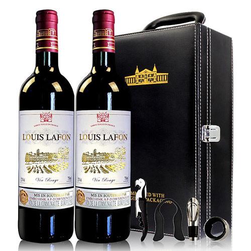 法国进口干红葡萄酒 双支礼盒装