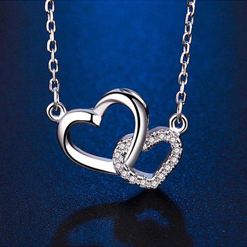 浪漫爱心纯银星座项链 免费刻字