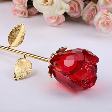 水晶镀金玫瑰花 浪漫礼物