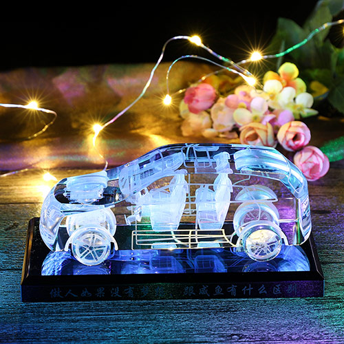 创意水晶跑车车模 底座刻字