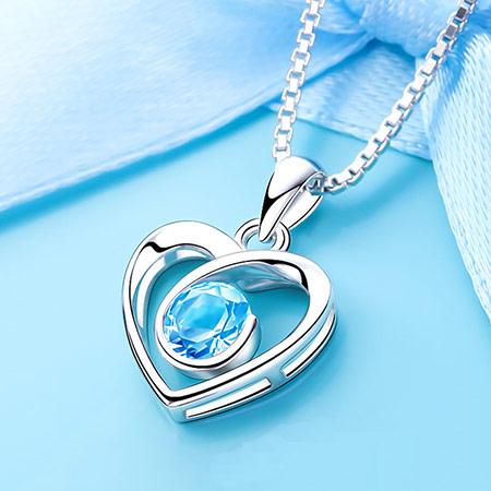 浪漫紫水晶心形纯银项链