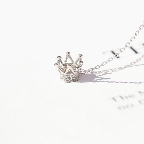 925银皇冠公主项链 锁骨吊坠
