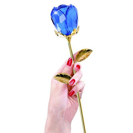 镀金水晶玫瑰花 个性刻字