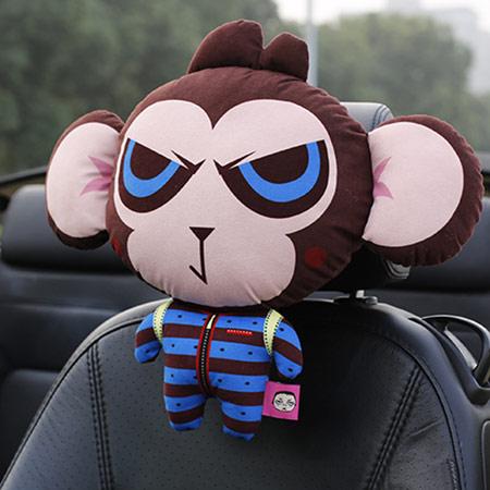 可爱猴子汽车头枕 卡通车用靠枕