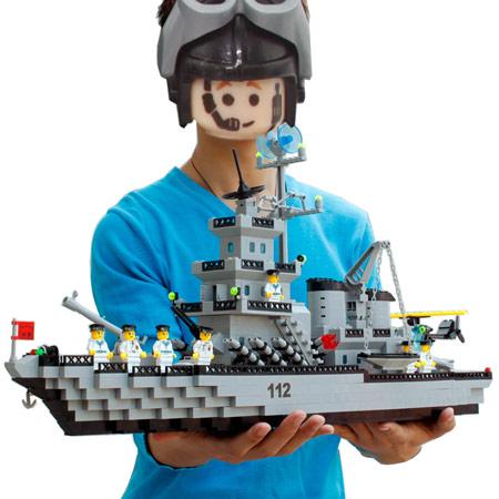 启蒙积木航母拼装玩具