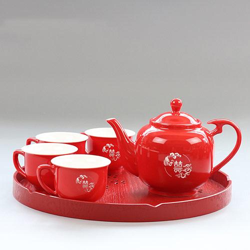 双喜剪纸茶具套装 结婚礼物