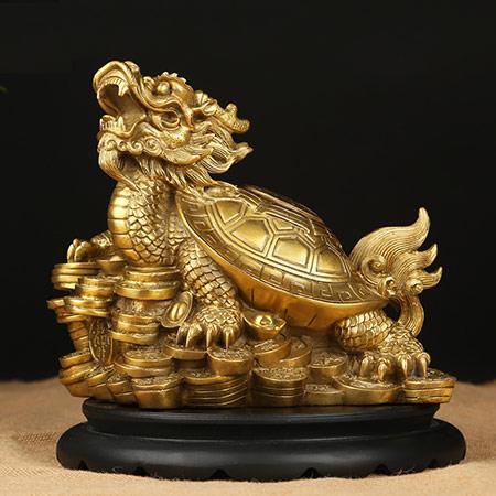 开光纯铜龙龟摆件 延年益寿
