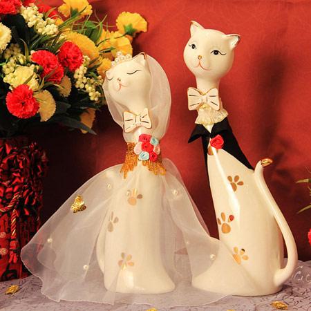 创意情侣猫咪陶瓷摆件 结婚礼物
