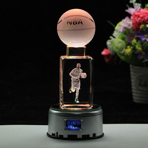 送男友NBA水晶篮球摆件可刻字