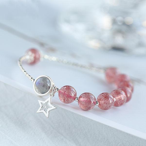 纯天然粉水晶缠绕手链