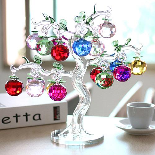 水晶苹果树摆件 圣诞节礼物