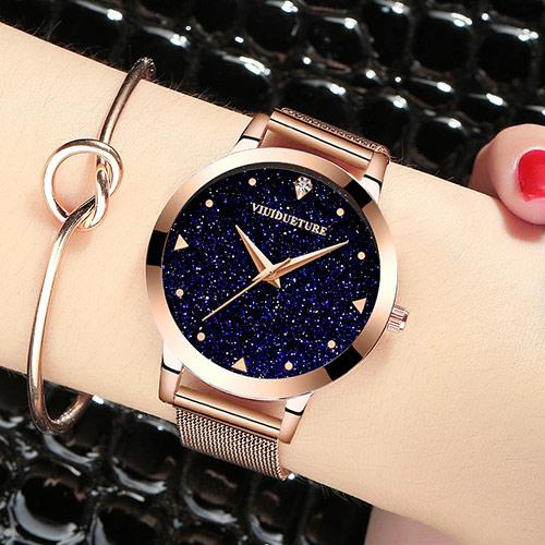 韩版女士镶钻真皮手表