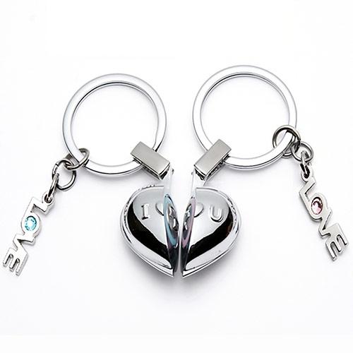 情侣半心发声钥匙扣 创意礼物
